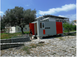 Installation of the prototype recycling system at Ancient Olympia.